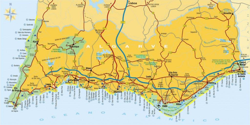mapa mejores playas algarve