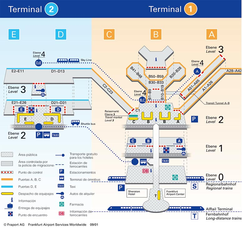 mapa aeropuerto frankfurt